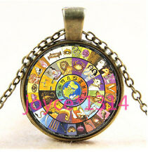 Vintage Zodiac compass Cabochon Bronze Glass Chain Pendant Necklace TS-3650