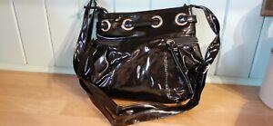 NEW black, soft, faux patent leather handbag