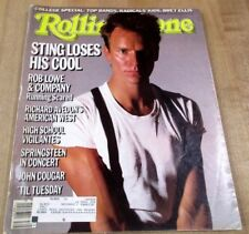 Rolling Stone Magazine #457 Sept 85 Sting Rob Lowe John Cougar High School Vigil