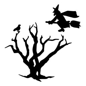 2PCS Witch Crow Raven Birds Withered Tree Halloween Decal Car Bumper Stickers