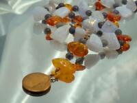 WOW Gorgeous Baltic Amber Amethyst Agate Moon Stars Toggle Clasp Necklace 975n0