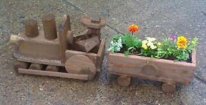 hand made designer rustic garden train planter  3 car