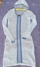 Tommy Bahama Swim Cover Dress Hoodie Solid White Knit Semi Sheer S/M