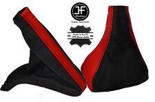 RED & BLACK LEATHER GEAR & HANDBRAKE GAITER FITS VAUXHALL OPEL VECTRA B 96-02