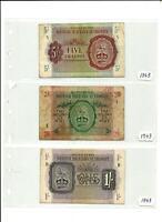 UK British Military Authority 1943 Three Banknote Set