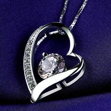Halskette Collier Herz mit SWAROVSKI KRISTALLEN Zirkon Echt 925 Sterling Silber!