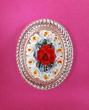 Pintado a Mano Rojo Rosa & White Orchid Broche Camafeo Flor Floral Boda Pin de Solapa