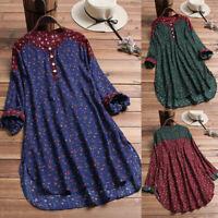 Plus Size Womens Vintage Floral Print Patchwork Long Sleeve Shirt Tops Blouse
