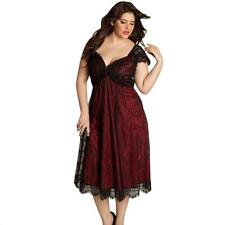 Plus Size Women Sleeveless Lace Long Dress Evening Party Prom Gown Formal Dress