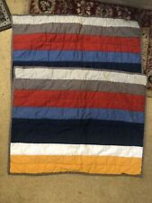Pair Pottery Barn Teen Multicolored  Cotton Striped Quilted Standard Shams Euc