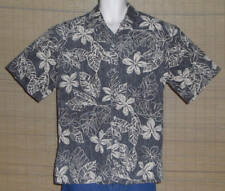 Tori Richard Hawaiian Shirt Reverse Pattern Gray Tan Flowers Leaves Size Large