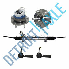 Set 5: Complete Rack and Pinion + 2 Outer Tie Rod + 2 Wheel Hub Bearing Assembly