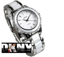 DKNY WOMEN'S WHITE CRYSTALS CERAMIC COLLECTION WATCH NY8818
