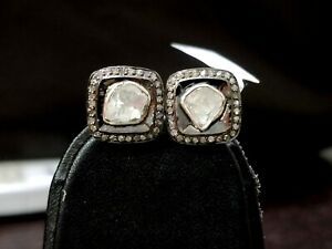 Natural Diamond Studded Earring 925 Sterling Silver Pave Diamond Vintage Earring