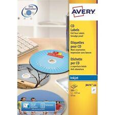 Avery White Inkjet CD Labels 100 Sheet Packs J8676-100