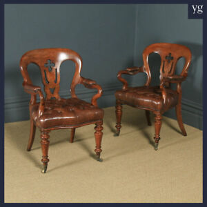 Antique Pair of Victorian Oak & Brown Leather Office Desk Library Club Armchairs