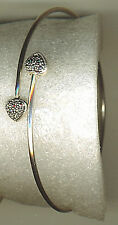 925 Sterling Silver Solid Marcasite Heart Bangle with Marcasite Adjustable +5 g