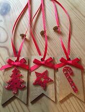 3 x Regalo di Natale decorazione da appendere TAG TAG PACCO REGALO ORO ROSSO fatto a mano