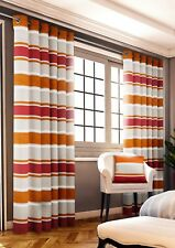 Rich Heavy Chenille Bright Stripes Lined Blockout Ring Top Eyelet Curtain Pair