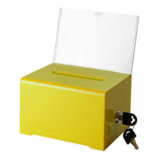 "Adir Acrylic Suggestion, Donation & Ballot Box, 6.25""x4.5""x4"" #637  Lock -YELLOW"
