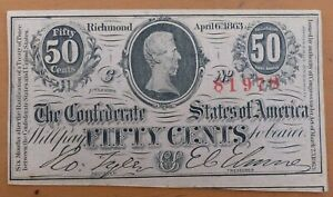 April 6th 1863, Confederate States of America, 50 Cents Note T-72, UNC