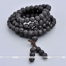 108 Prayer Beads Natural Lava Stone Gemstone Bracelet Buddha Meditation Necklace