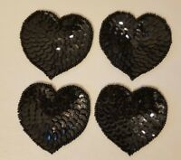 "Lot of 4 Vintage Small 2"" Black Heart Beaded Sequined Appliques Sew On Crafts"