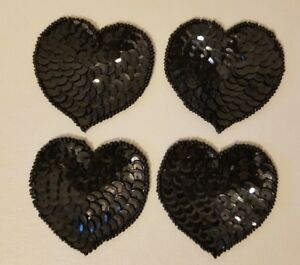 """Lot of 4 Vintage Small 2"""" Black Heart Beaded Sequined Appliques Sew On Crafts"""