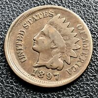 1897 Indian Head Cent 1c One Penny Higher Grade VF OFF CENTER ERROR RARE #17642