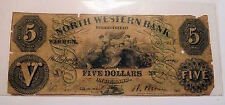 Obsolete Banknote WARREN PA $5 North Western Bank 1860 Ornate Vignette