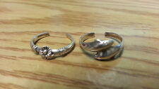 Ring 925 Sterling *Size Adjustable *F238 Beautiful Two Dolphins Flower Toe Rings