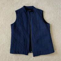 Lafayette 148 Blue Quilted Vest Womens Size 16 Wool Full Zip Sleeveless EUC