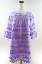 New Women's Casual Cute ¾ Sleeve Purple Knitting Hollow Lace Mini Shift Dress