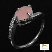 2.8 ct  Pink-Orange Opal Silver Ring
