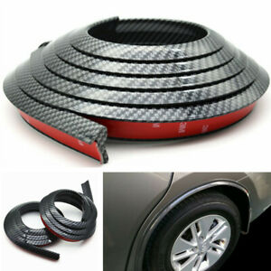 2Pcs 1.5m Carbon Fiber Car Fender Flare Wheel Eyebrow Protector Arch Trim Strip