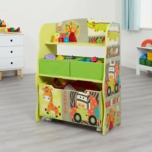 Children's Storage Unit With Roll Out Toy Box and 2 Fabric Storage Bins