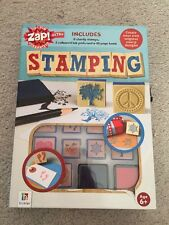 Stamping Set Hinkler 8 Sturdy Stamps 2 Coloured Ink Pads 48 Page Book