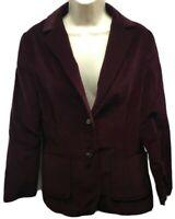 Douglas Marc Blazer Jacket Size 9 10 Maroon Christmas Velvet Satin Lined Union