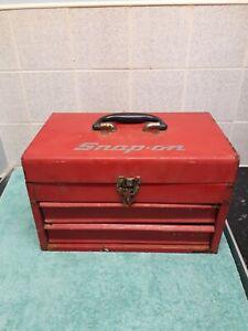 2 draw vintage metal red  tool box