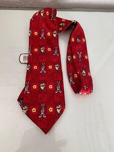 Looney Tunes Bugs Bunny & Taz Tie Tazmania Devil Vintage 1997 Silk Tie Rack Tag