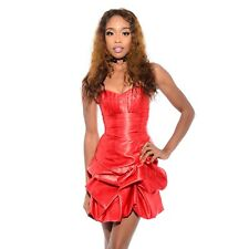 Vtg 80s 90s Red SATIN Holiday Christmas Cocktail Party Strapless Mini Dress XXS