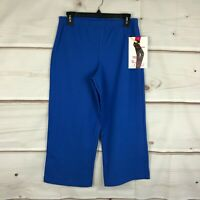 Women with Control Pull On Knit Crop Pants Straight Leg Blue Womens M A200215
