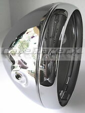 """Motorcycle Headlight Shell 7"""" Chrome Side Mount British Style Cafe Racer Chopper"""