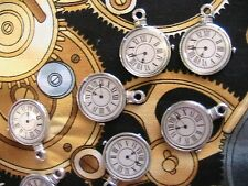 STEAMPUNK CLOCK charms~Lot of 4~Tibetan silver~jewelry~craft~art~scrapbook more