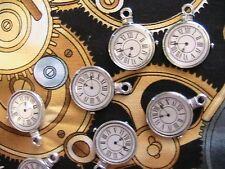 "Lot of 4 STEAMPUNK CLOCK CHARMS~Tibet silver 1"", jewelry~scrpbk~art~craft~dolls+"