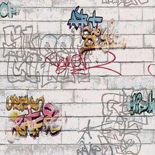 Blanco / Multi Graffiti Ladrillo Wallpaper 93561-1