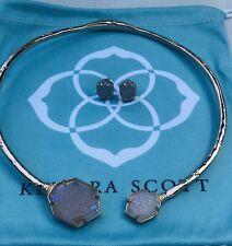 Kendra Scott Coursen & Taylor Rose Gold Iridescent Drusy Necklace & Earring Set