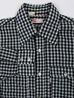 LEVIS Vintage VTG Men's Large Black & White Check Long Sleeve Button Front Shirt