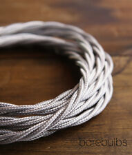 Twisted coloured fabric lighting cable flex: Silver - vintage - sold per metre