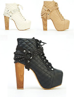 LADIES WOMENS  WOOD BLOCK HIGH HEEL LACE UP PLATFORM ANKLE BOOTS SHOES UK